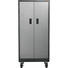 Premier Series 65-inch H x 30-inch W x 18-inch D 4-Shelf Steel Rolling Garage Cabinet in Silver Tread