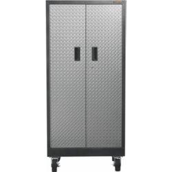 Gladiator Premier Series 65-inch H x 30-inch W x 18-inch D 4-Shelf Steel Rolling Garage Cabinet in Silver Tread
