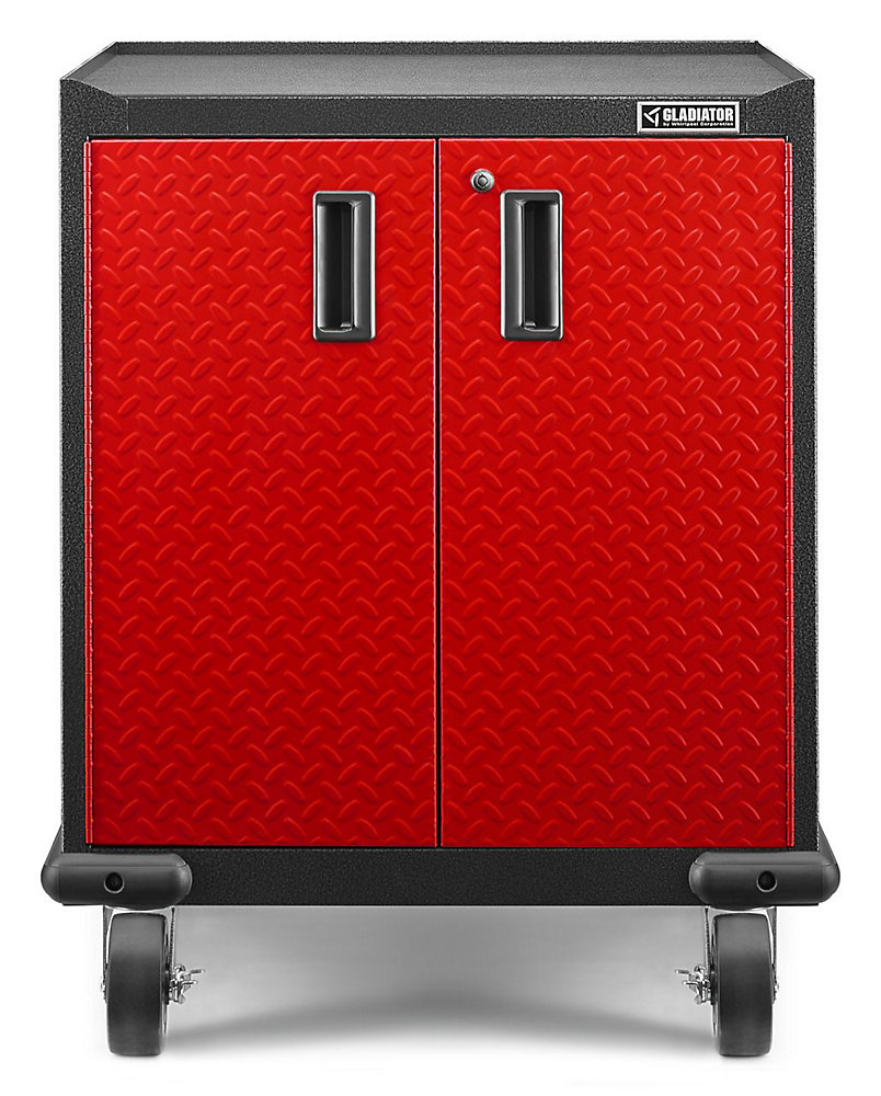 Premier Series 35-inch H x 28-inch W x 25-inch D Steel 2-Door Rolling Garage Cabinet in Red Tread