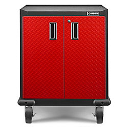 Gladiator Premier Series 35-inch H x 28-inch W x 25-inch D Steel 2-Door Rolling Garage Cabinet in Red Tread