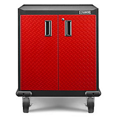 Premier Series 35-inch H x 28-inch W x 25-inch D Steel 2-Door Rolling Garage Cabinet in Red Tread