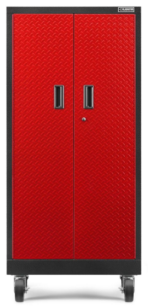 Gladiator Premier Series 66-inch H x 30-inch W x 18-inch D Steel Rolling Garage Cabinet in Red Tread