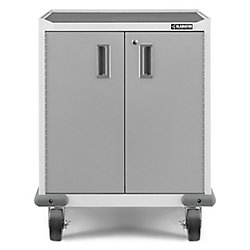 Armoire de garage roulante à 2 portes en acier de 35 po H x 28 po L x 25 po D de la série Premier en blanc