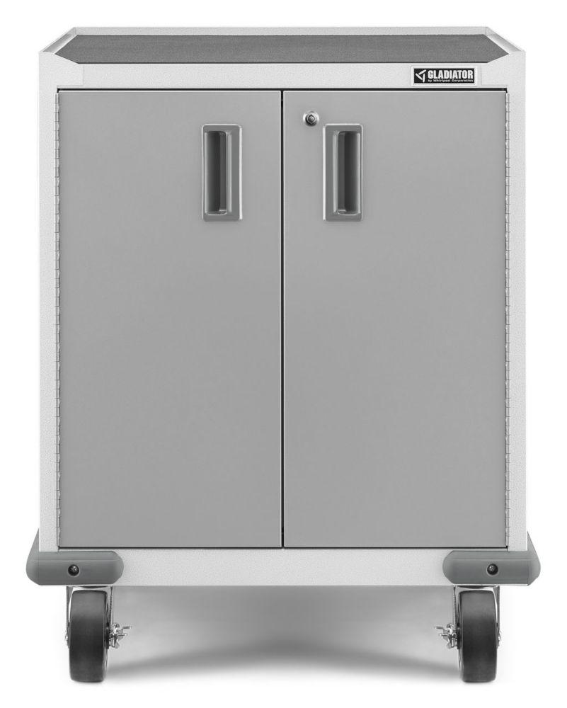Gladiator Premier Series 35-inch H x 28-inch W x 25-inch D Steel 2-Door Rolling Garage Cabinet in White