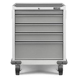 Armoire de garage roulante à 5 tiroirs en acier de 35 po H x 28 po L x 25 po D de la série Premier en blanc