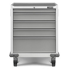 Premier Series 35-inch H x 28-inch W x 25-inch D Steel 5-Drawer Rolling Garage Cabinet in White