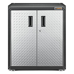 Gladiator Ready-to-Assemble 31-inch H x 28-inch W x 18-inch D Steel 2-Door Freestanding Garage Cabinet in Silver Tread