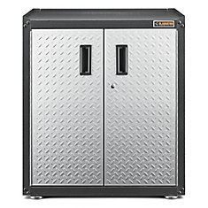 Ready-to-Assemble 31-inch H x 28-inch W x 18-inch D Steel 2-Door Freestanding Garage Cabinet in Silver Tread