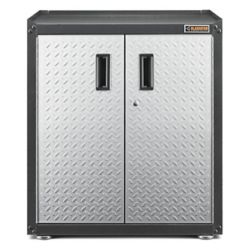 Gladiator Meuble de garage 2 portes autoportant en acier de 31 po H x 28 po L x 18 po P, prêt-à-assembler, avec bande de roulement argentée