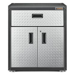 Gladiator Ready-to-Assemble 31-inch H x 28-inch W x 18-inch D Steel 2-Door Freestanding Garage Cabinet in Silver Tread