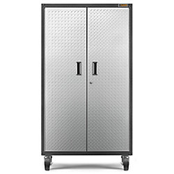 Ready-to-Assemble 66-inch H x 36-inch W x 18-inch D Steel Rolling Garage Cabinet in Silver Tread