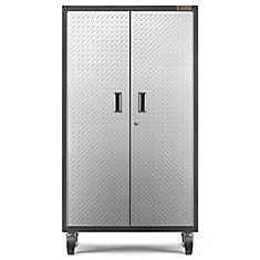 Ready-to-Assemble 66-inch H x 36-inch W x 18-inch D Steel Rolling Garage Cabinet in Silver Tread