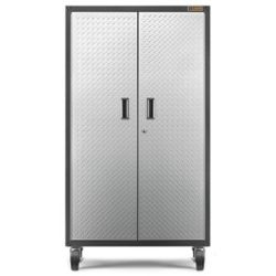 Gladiator Ready-to-Assemble 66-inch H x 36-inch W x 18-inch D Steel Rolling Garage Cabinet in Silver Tread