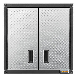 Ready-to-Assemble 28-inch H x 28-inch W x 12-inch D Steel Garage Wall Cabinet in Silver Tread
