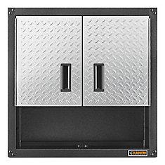 Ready-to-Assemble 28-inch H x 28-inch W x 12-inch D Steel 2-Door Garage Wall Cabinet in Silver Tread