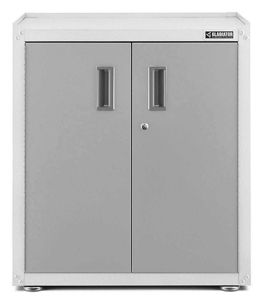 Ready-to-Assemble 31-inch H x 28-inch W x 18-inch D Steel 2-Door Freestanding Garage Cabinet in White