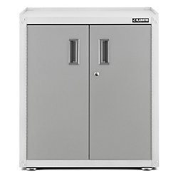 Gladiator Ready-to-Assemble 31-inch H x 28-inch W x 18-inch D Steel 2-Door Freestanding Garage Cabinet in White