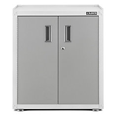 Ready-to-Assemble 31-inch H x 28-inch W x 18-inch D Steel 2-Door Freestanding Garage Cabinet in White