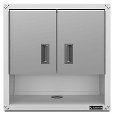 Ready-to-Assemble 28-inch H x 28-inch W x 12-inch D Steel 2-Door Garage Wall Cabinet in White