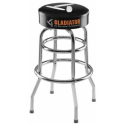 Gladiator Ready-to-Assemble 30-inch H x 15-inch W Padded Swivel Garage Stool in Black and Chrome