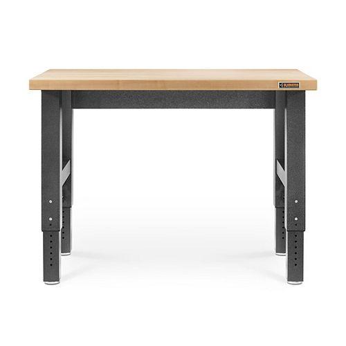 Gladiator Table de travail réglable en hauteur en granit martelé de 4 pieds de haut en bois dur