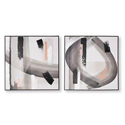 Graham & Brown Set of 2 Monochrome Radiance Abstract Handpainted Wall Art
