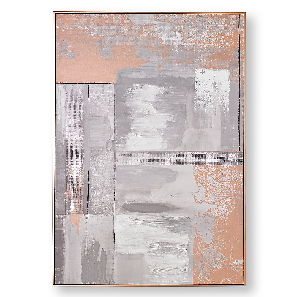 Rose gold glow abstract handpainted wall art