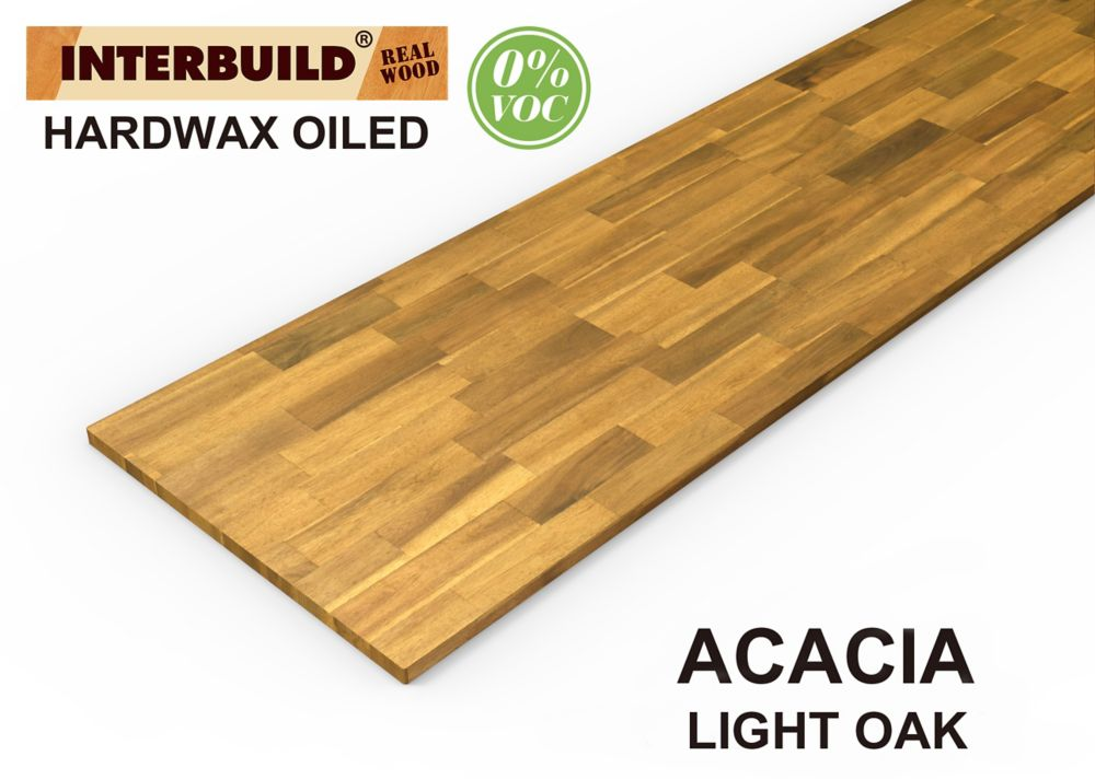 INTERBUILD 96 inch x 25.5 inch x 1 inch Acacia Wood Kitchen Countertop Light Oak