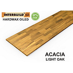 Comptoir de cuisine en bois Acacia  chêne clair - 96 po x 25.5 po x 1.5 po