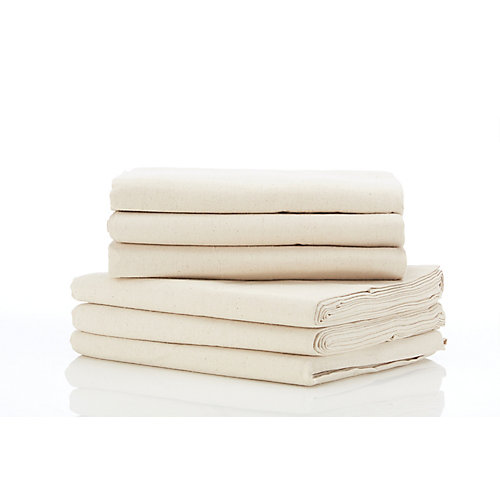 Heavy Duty Cotton Canvas 5ft x 12ft (1.52m x 3.66m) Drop Cloth - (6-Pack)