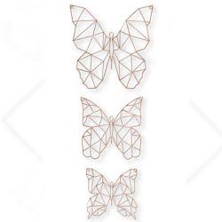 Graham & Brown Art Mural en Métal Papillons - Ensemble de 3