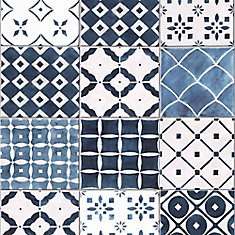 Porches Blue/White Removable Wallpaper Sample