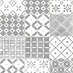 Porches Gray/White Removable Wallpaper Sample