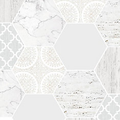 Hexagonal Marble Gray/White Removable Wallpaper Sample