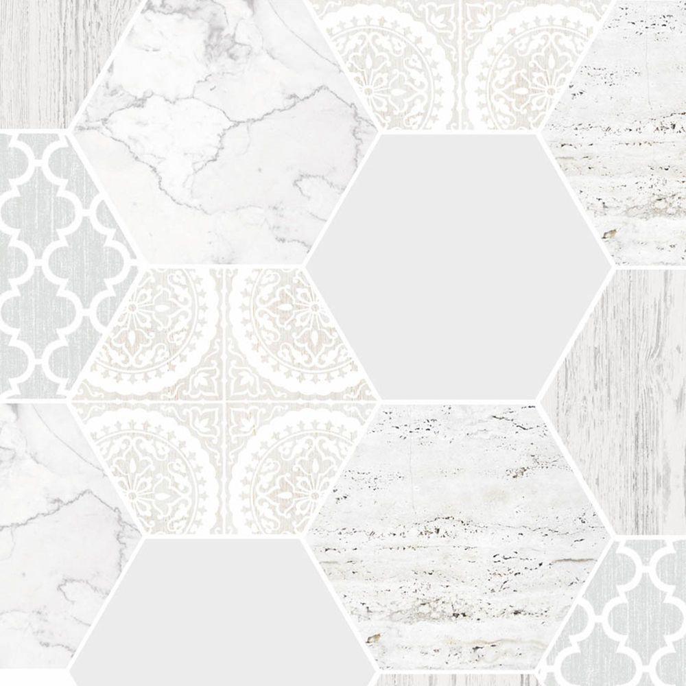 Graham & Brown Hexagonal Marble Gray/White Removable Wallpaper