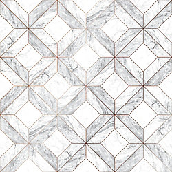 Graham & Brown Marble Marquetry White/Gray/Rose Gold Removable Wallpaper