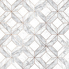 Marble Marquetry White/Gray/Rose Gold Removable Wallpaper Sample