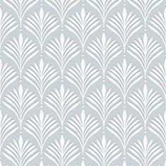 Bonnie Geo Aqua/White Removable Wallpaper Sample