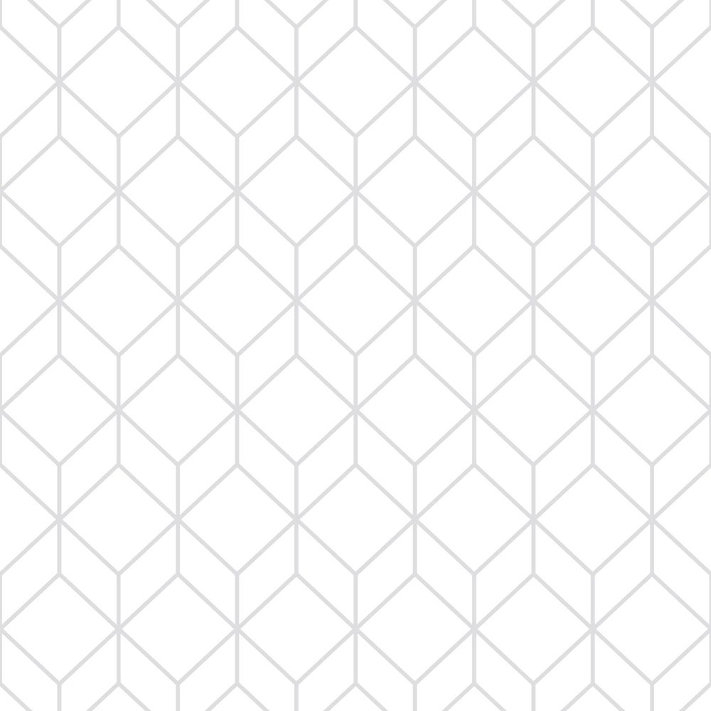 Myrtle Geo White Silver Removable Wallpaper Sample