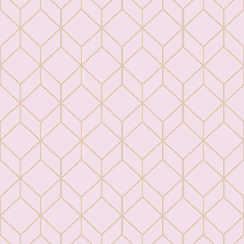 Myrtle Geo Pink Rose Gold Removable Wallpaper Sample