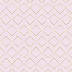 Myrtle Geo Pink/Rose Gold Removable Wallpaper Sample