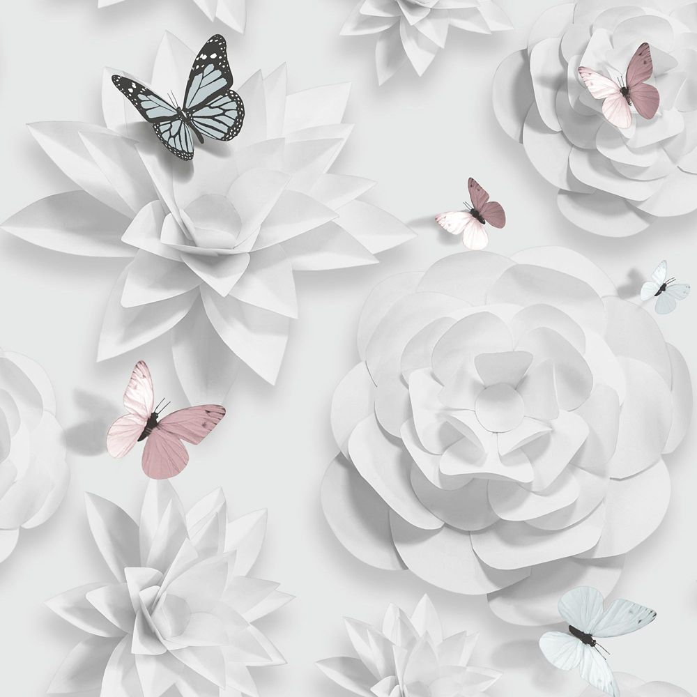 Origami Floral Pink Aqua White Removable Wallpaper Sample