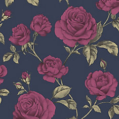 Countess Navy Blue/Pink/Green Removable Wallpaper Sample