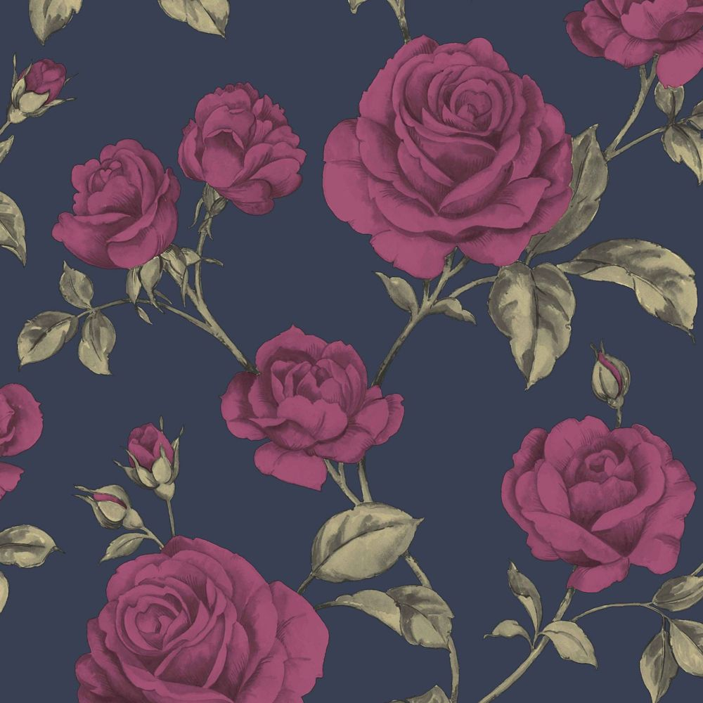Graham & Brown Countess Navy Blue/Pink/Green Removable Wallpaper Sample