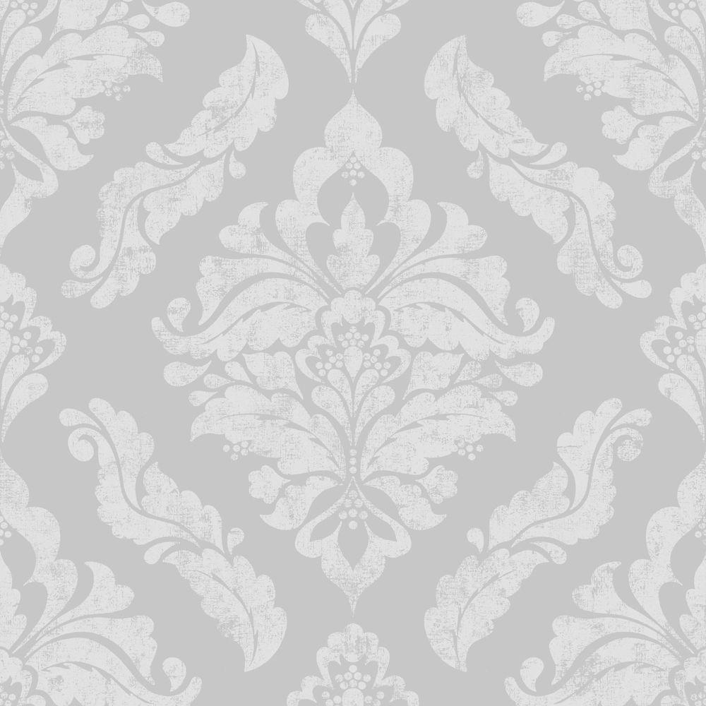 Damaris Gray Silver Removable Wallpaper