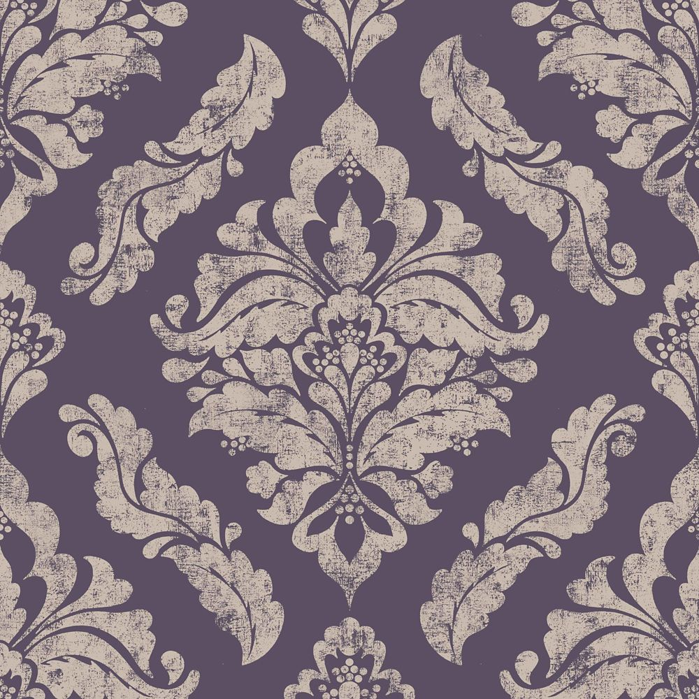 Graham & Brown Damaris Purple/Silver Removable Wallpaper Sample
