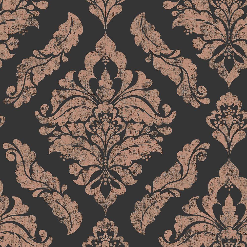 Damaris Black Rose Gold Removable Wallpaper Sample
