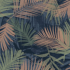 Jungle Glam Blue/Green/Copper Removable Wallpaper Sample