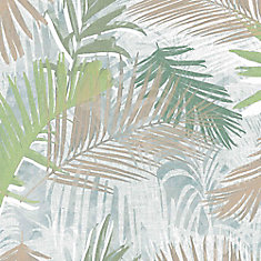 Jungle Glam Green/White/Taupe Removable Wallpaper Sample