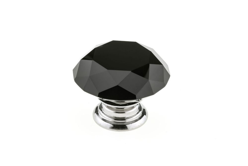 Richelieu Contemporary Crystal Knob 1 31/32 inch (50 mm) Dia - Chrome Black - Bolzano Collection